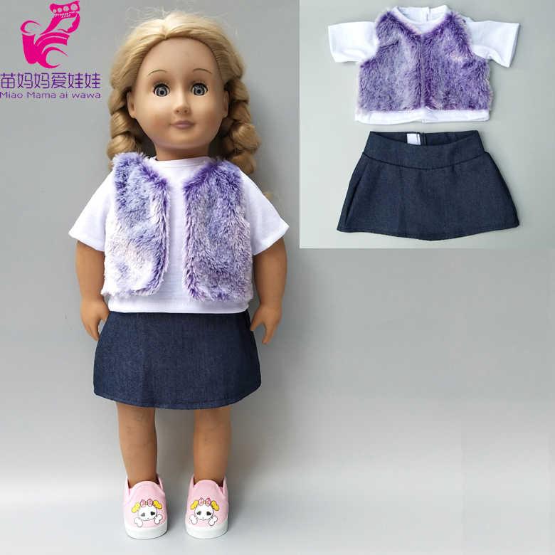 Búp bê ăn mặc cho 43 cm Em Bé sinh ra Con Búp Bê áo khoác lông thú áo vest váy 18 inch cô gái búp bê mùa đông vest