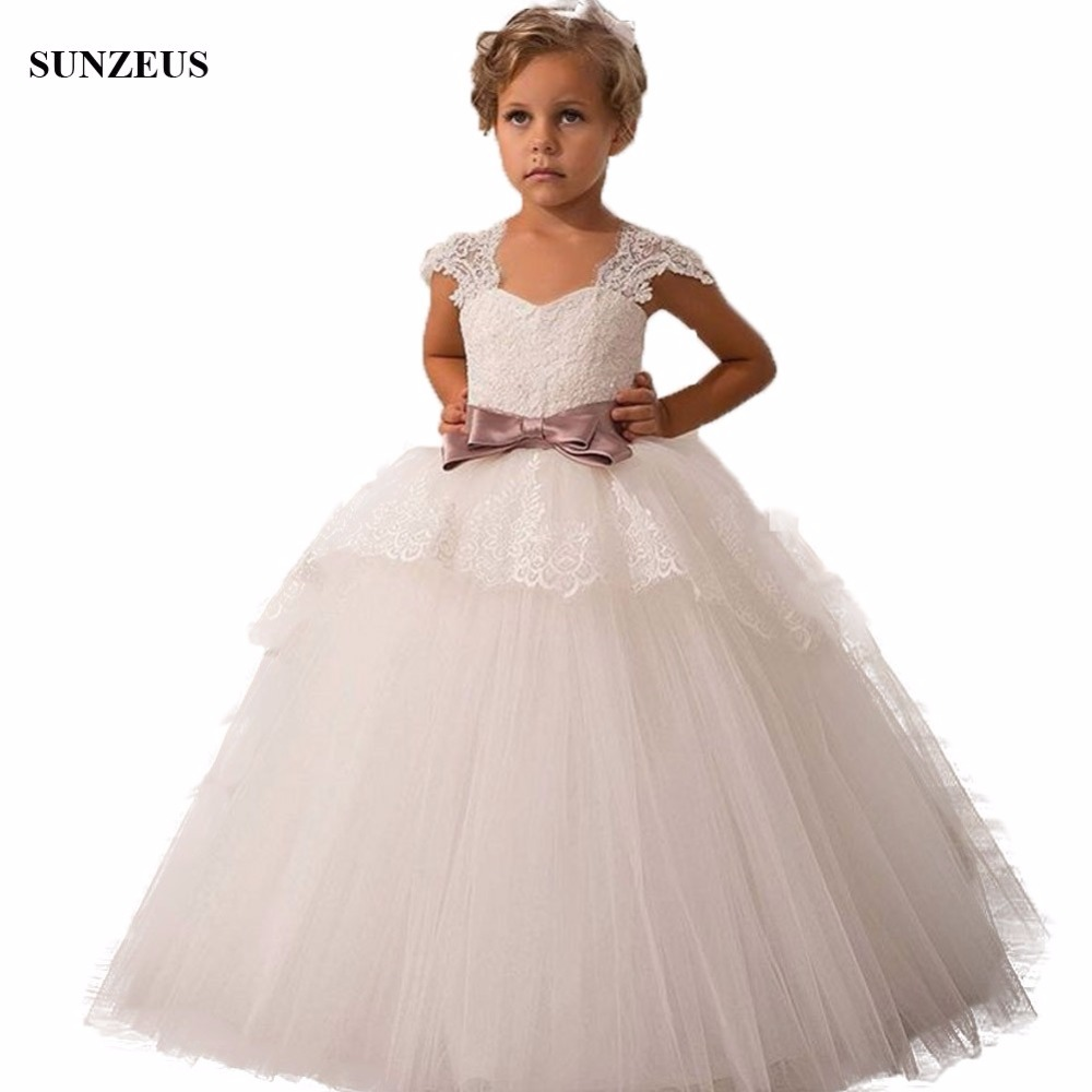 Ivory Tulle Ball Gown   Flower     Girl     Dress   With Bow Appliques Lace Cap Sleeve Long   Girls   Party Gowns For Wedding FLG071