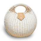 Round Shell Rattan Wicker Woven Straw Braided Picnic Bag Beach Basket Summer Vacation Women Camping Handle Handbag