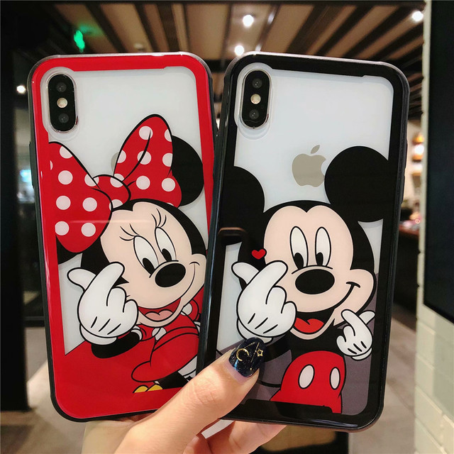 separation shoes ca0de a87a7 US $4.47 12% OFF Cartoon Tempered Glass Phone Case For iPhone XR XS MAX  8plus 7plus 6s plus Cute Minnie Mickey Mouse Protective Glass Cover  Coque-in ...