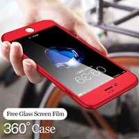 Luxo 360 graus capa completa casos de telefone para o iphone 12 11 pro max xr x 8 7 6 s plus 3 em 1 capa dura capa protetora do computador + filme de vidro