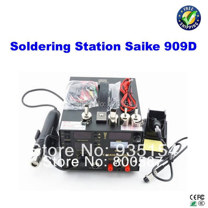 SAIKE 909D 3IN1 solder station Hot Air Gun SMD Soldering Iron Power Supply, bga welding machine mig mag burner gas burner gas linternas wp 17 sr 17 tig welding torch complete 17feet 5meter soldering iron air cooled 150amp