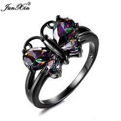 Śliczne kobiece tęczowy motyl pierścień moda czarne złoto wypełnione Ring Finger Vintage obrączki ślubne dla kobiet