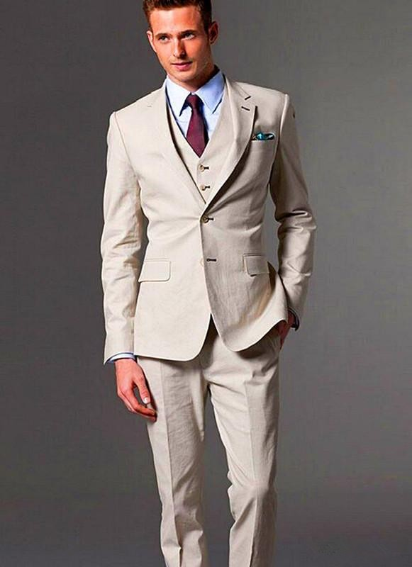 Jacket pant vest tie handkerchief 5 piece retro british for Mens ivory dress shirt wedding