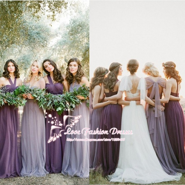 ea3a5365e447 Light Purple Convertible Bridesmaid Dresses Six Styles in One Vestido de  Madrinha Longo Cheap Bridesmaid Dresses