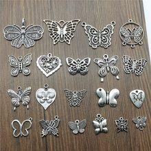 10 Uds. De dijes de mariposa antigua, colgante de mariposa de plata, colgantes para joyería