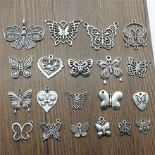 10pcs/lot Charms Butterfly Antique Silver Color Butterfly Pendant Charms Butterfly Charms For Jewelry Making(China)