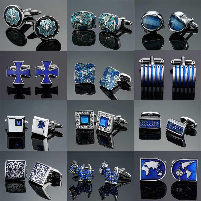 Горячие Запонки Популярные синие хрустальные эмалы дизайн манжеты высокого