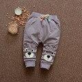 Calças de algodão Padrão de Urso Do Bebê Das Meninas Dos Meninos Do Esporte Calças Primavera Outono 2017