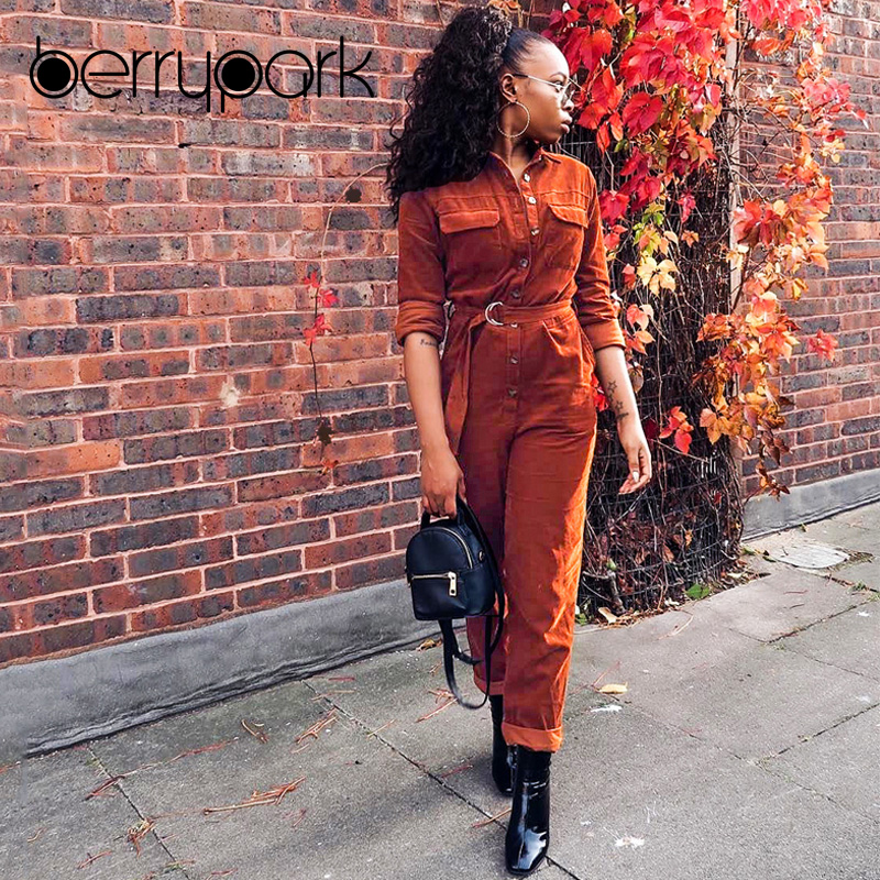 BerryPark 2019 High Fashion Winter Rompers Women High Quality Corduroy Cargo Loose Long Sleeve Belt Pocket   Jumpsuits   Wholesale