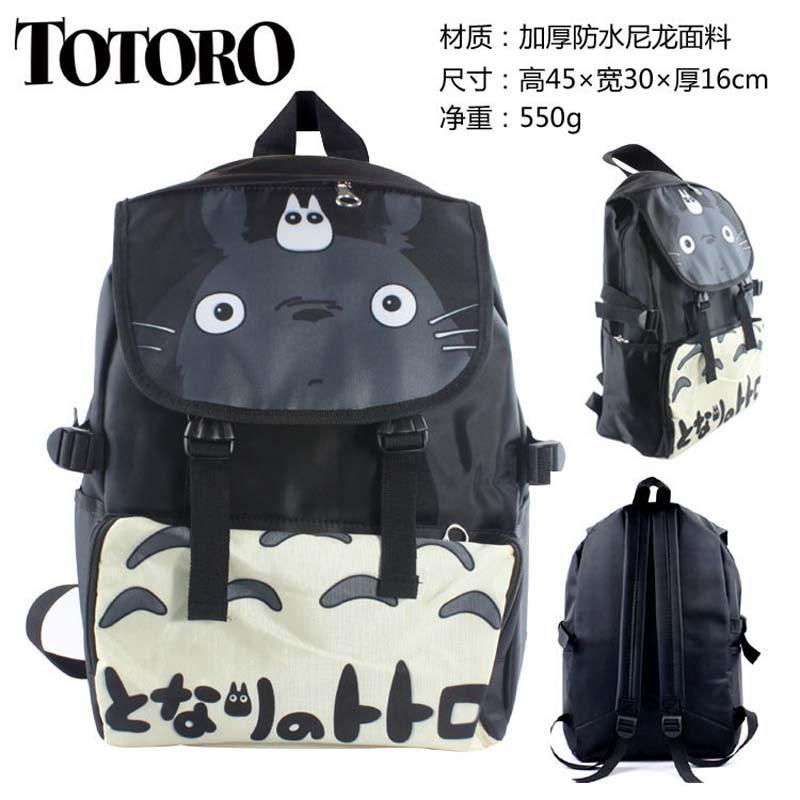 Japanese Anime My Neighbor Totoro Waterproof Laptop Black Backpack/Double-Shoulder Bag/School Bag anime my neighbor totoro cartoon backpack canvas shoulders school bag children schoolbags men women bookbag printing backpack