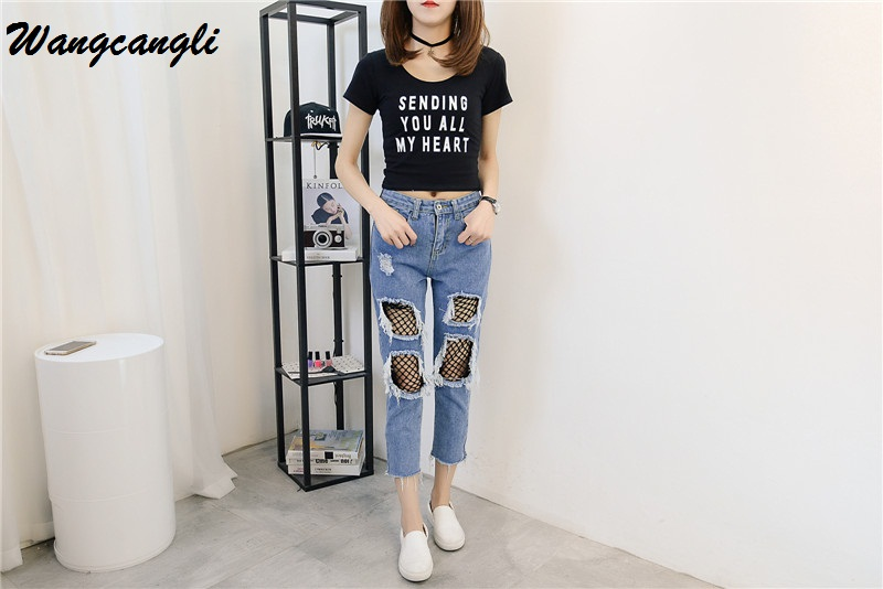 Wangcangli 2017 New Summer and Spring Jeans Women s Fashion Brand Vintage Loose Mid Waist Pants