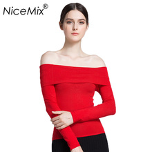 NiceMix 2019 Sexy Off Shoulder Sweater Women Slim Solid Knitted Sweaters Pullover Elegant Female Jumpers Pull Femme