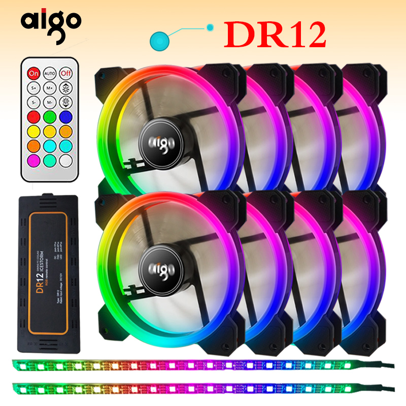 Aigo DR12 Doppel RGB Aura Pc Fan 12 v 4 Pin 120mm Lüfter Für Computer Stille Gaming Fall kühler Fan Mit Controller am3 am4