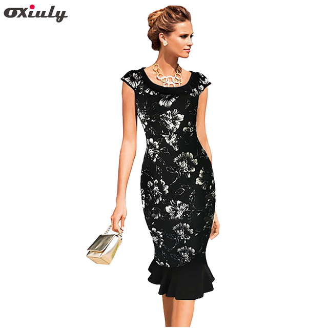 ebc3ca3028ef7 Oxiuly 2018 Plus size 4XL Womens Floral Print Dress Rockabilly Elegant  Tunic Dress Ladies Vintage Bodycon Wiggle Mermaid Dress-in Dresses from  Women's ...