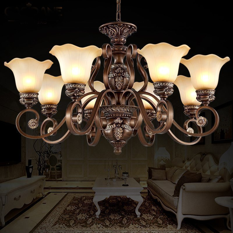 Luxury Europe Resin Chandelier Lighting Living Room Lamp E27 Socket Well Package lustres para quartoLuxury Europe Resin Chandelier Lighting Living Room Lamp E27 Socket Well Package lustres para quarto