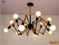 wood Vintage industrial Nordic Loft Edison Bulb Chandelier Retro Ceiling Spider Pendants Antique Adjustable E27 indoor Art Light