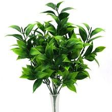 Plantas artificiales verdes de 7 ramas para casquillos de jardín hierba falsa hojas de naranja de eucalipto planta falsa para decoración de tienda de hogar