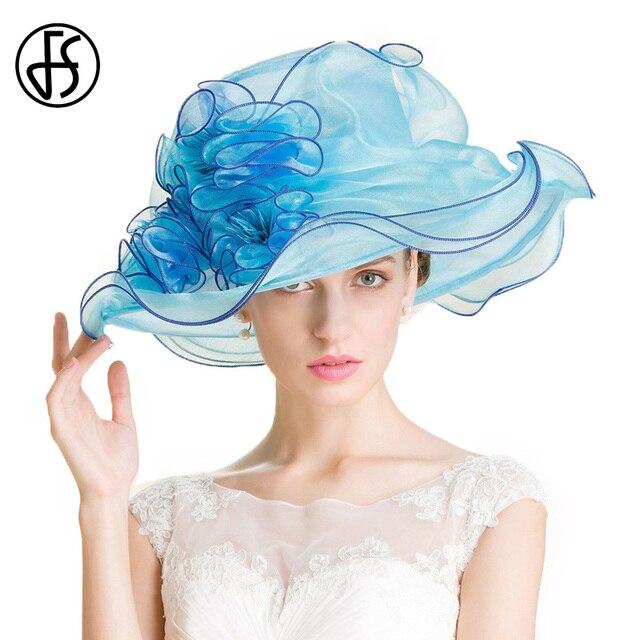 FS Royal Blue Church Organza Wedding Fedora Hat Women Ladies Formal Summer  Floral Large Brim Kentucky Derby Hats d18db6ab32dc