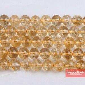 Бесплатная доставка, натуральный камень, трещины, желтые кварцевые шарики, 16 дюймов, размер 6, 8, 10, 12 мм, для изготовления браслета, ожерелий ...