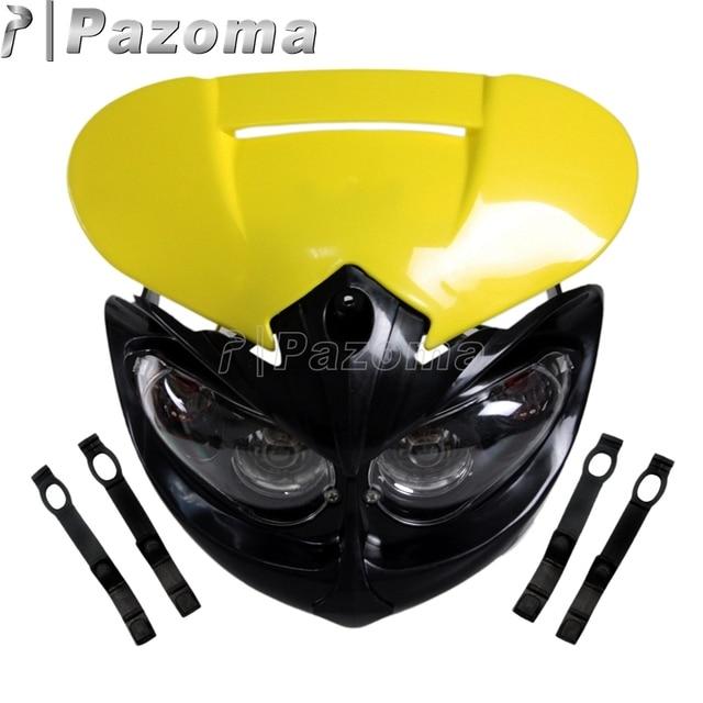 PAZOMA Universal Motorcycle Head Light Headlamp Black