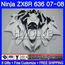 Корпус глянцевый белый для KAWASAKI NINJA ZX 6R 6 R 600CC ZX-636 ZX636 07 08 16HM. 2 ZX600 ZX6R 07 08 ZX 636 ZX-6R 2007 2008 обтекатель