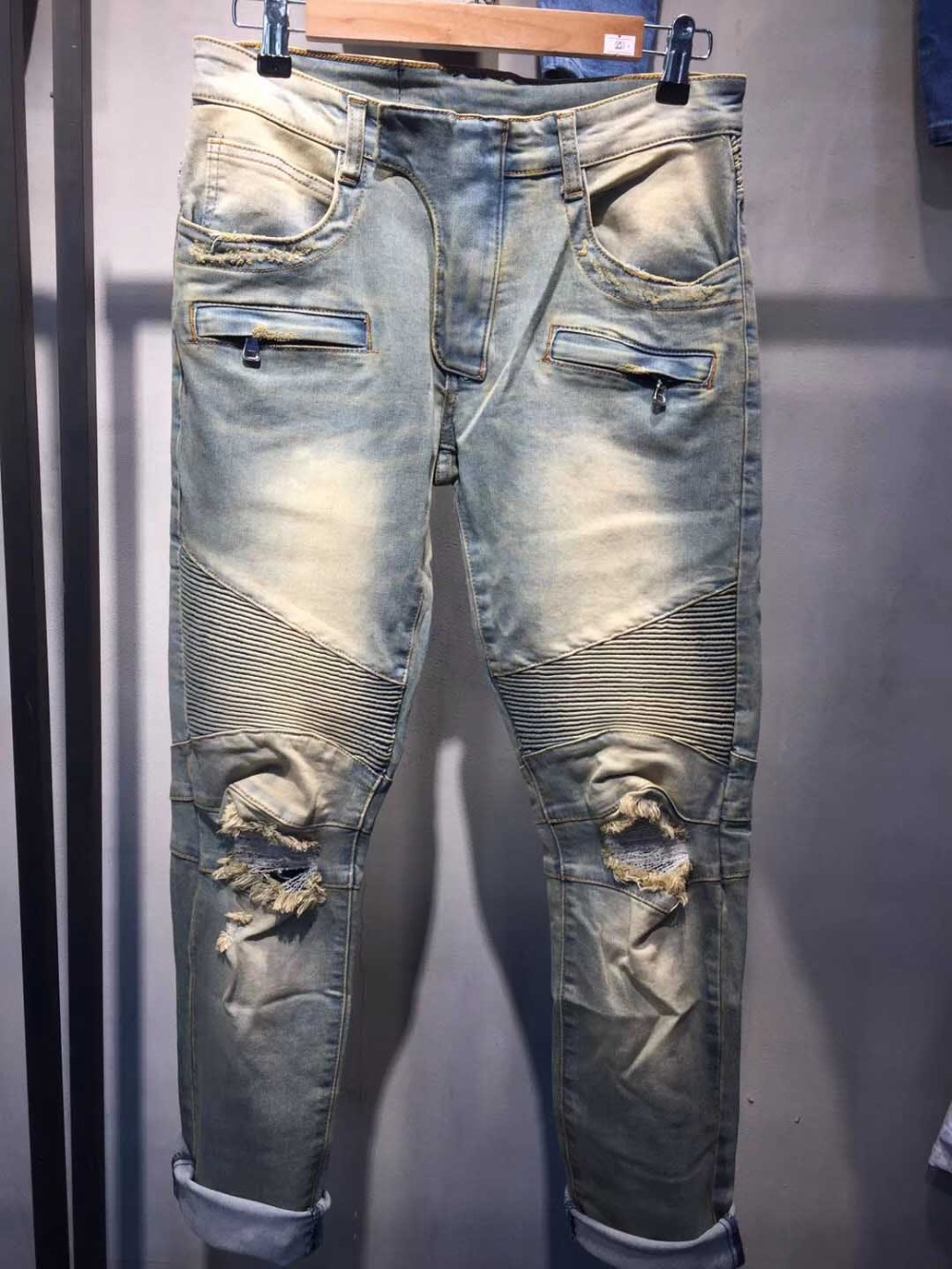 High Quality 2019 New Arrival Famous Brand Mens Designer Korean Fashion Slim Skinny Overall Denim Punk Pleated Biker Jeans
