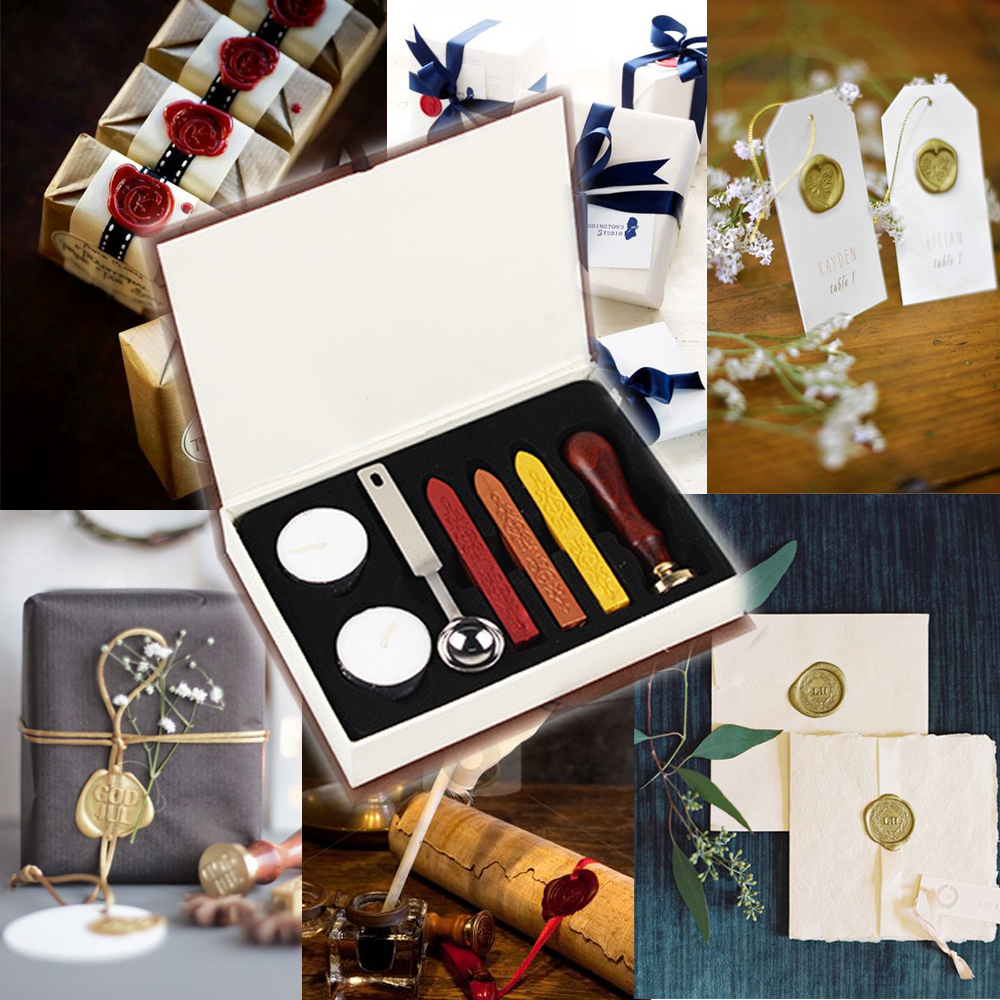 Vintage Sealing Wax Sticks and Retro Seal Stamp Sealing For Wedding Party Envelope Decorations