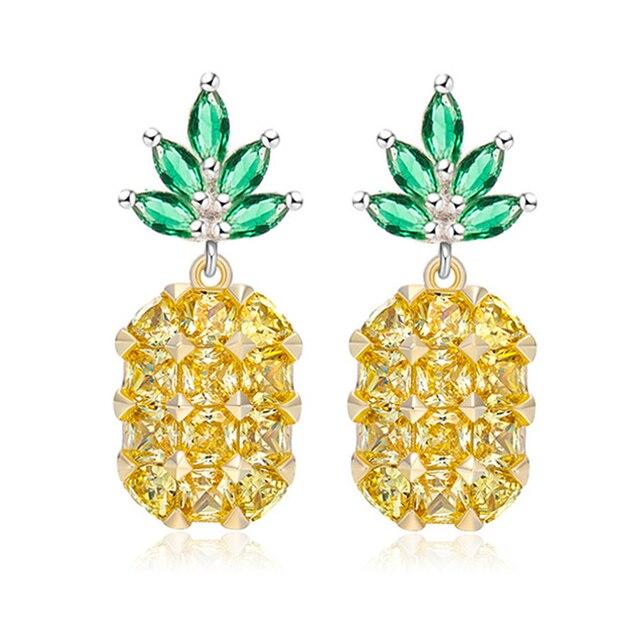 Shellhard Fruit Pineapple Crystal Ear Stud Earring Vintage Pink Yellow Big Gems