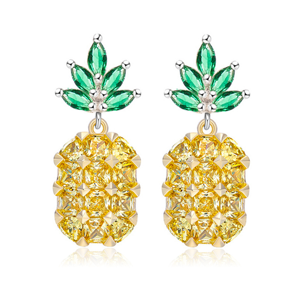 Shellhard Fruit Pineapple Crystal Ear Stud Earring Vintage Pink Yellow Big Gems Silver Earrings For Women Charm Jewelry