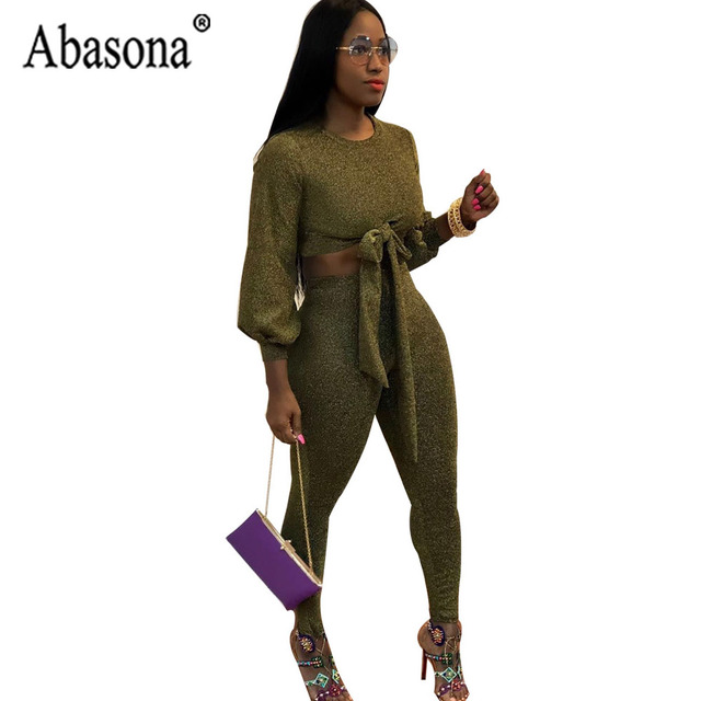 c38fc4a836 Abasona Women Sexy 2 Piece Sets Bow Tie Bandage Jumpsuit Solid Flash  Elasticity Bodycon Club Jumpsuit Autumn Long Sleeve Romper