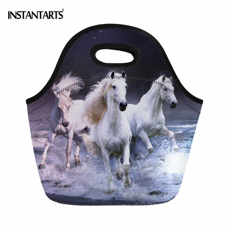 INSTANTARTS Carzy Horse Printing Thermal Lunch Tote Bag Reusable Breakfast Food Bag Portable Travel Outside Picnic Meal Bag Kids