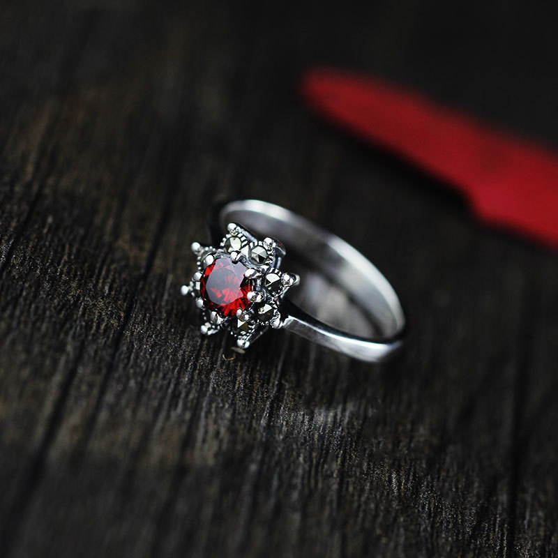 Real Pure Thai Silver 925 Ring Designer Jewelry Vintage Red Garnet Rings For Women Natural Stone Elegant Fine Jewelry Ringen