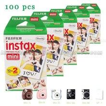 ของแท้100ชิ้นสีขาวขอบฟูจิFujifilm Instax Mini 8ภาพยนตร์สำหรับ8 50วินาที7วินาที7 90 25 s HARE SP-1ทันทีกล้องฟรีการจัดส่งสินค้าได้อย่างรวดเร็ว