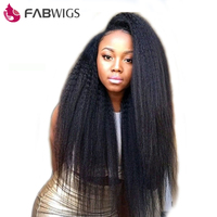 Fabwigs Kinky Straight Hair Lace Front Human Hair Wigs with Baby Hair Brazilian Remy Human Hair Wig for Women Natural Black