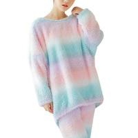 High Grade Women S Pajamas Rainbow Color Indoor Clothing Sleepwear Winter Long Sleeve O Neck Trousers