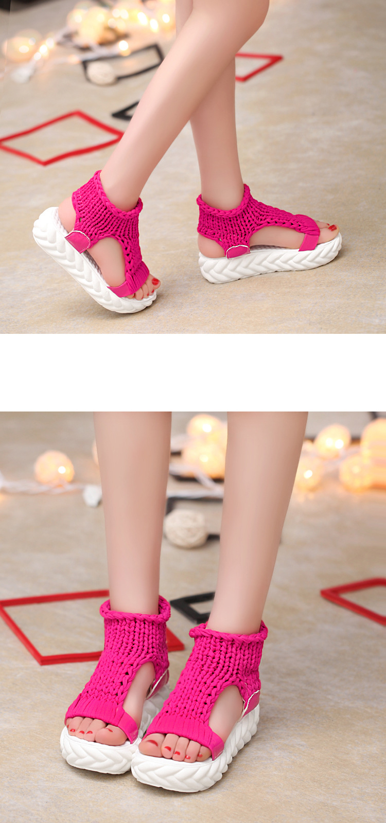 HTB1UHP7o9BYBeNjy0Feq6znmFXaq 2019 New Casual Summer Shoes Women Comfortable Wool Ladies Platform Sandals Knit High Heels Grey Rose Red Sandales