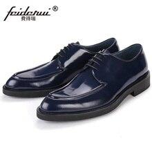 Лидер продаж формальный человек на плоской платформе Туфли под платье лакированная кожа Свадебные оксфорды Элитный бренд круглый носок Мужская офисная обувь PF88
