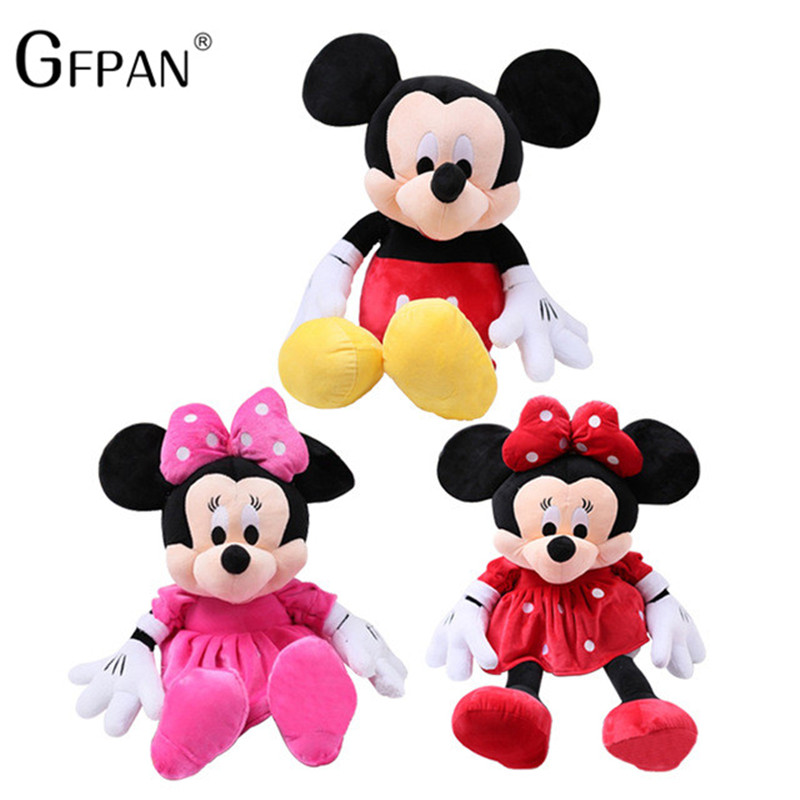 GFPAN 1 Pcs 30cm Hot Sale Lovely Mickey Mouse& Minnie Mouse Stuffed Soft Plush Toys High Quality Gifts Classic Toy For Girls