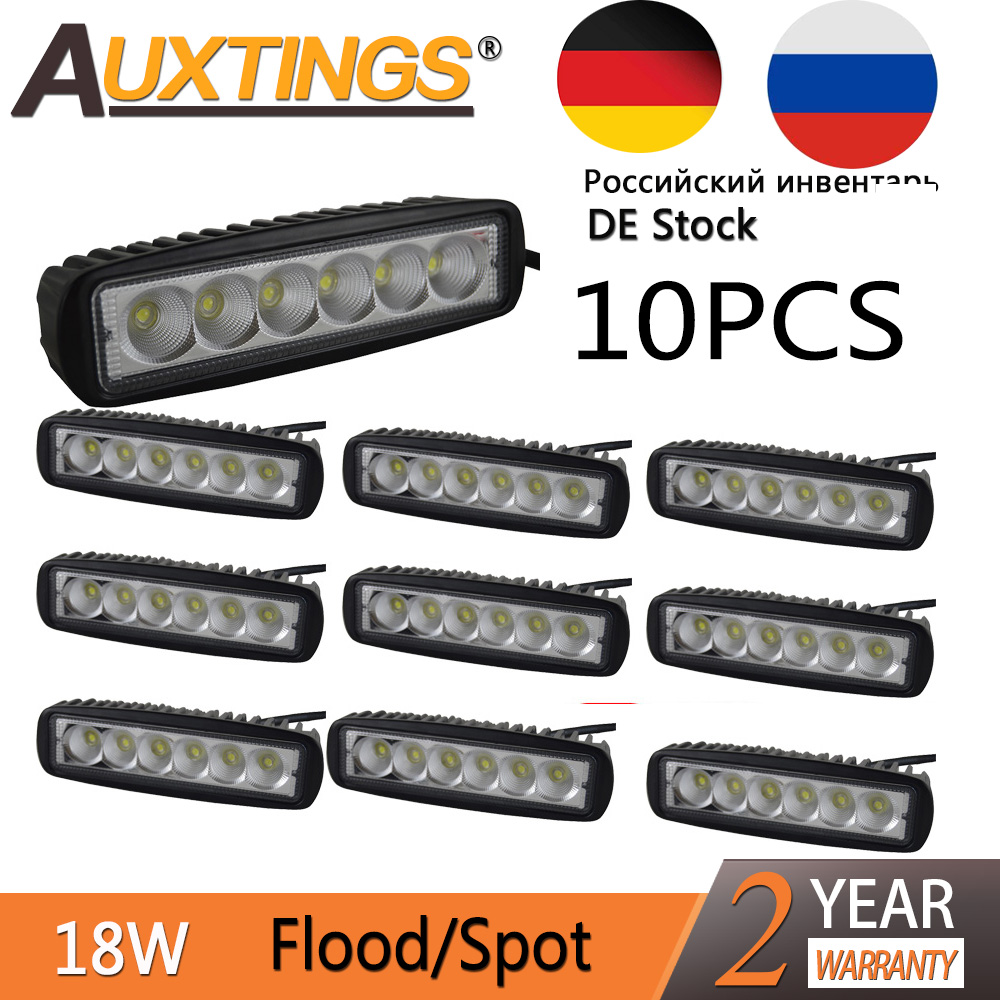 Auxting 10X 18W Spot light Flood Lamp Driving Fog LED Work Light Bar Offroad LED Work Car Light for Jeep SUV 4WD led beams 12V guleek f018bf 18w 1260lm 6000k 6 led white flood light working lamp for offroad car