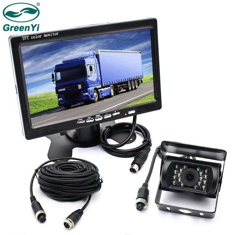 """GreenYi Vehicle IR LED Back up Reverse Camera 4 pin Connector + 7"""" LCD Color TFT Rear View Monitor 800*480 for Bus Truck RV-in Vehicle Camera from Automobiles & Motorcycles    1"""