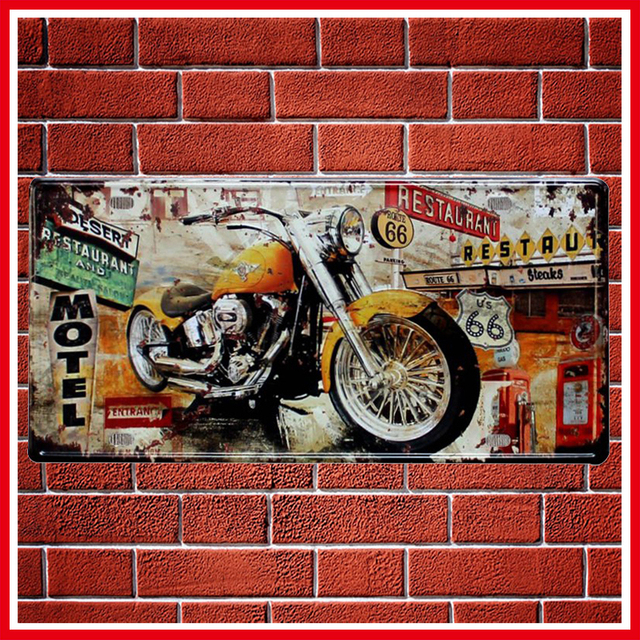 New US Route 66 Motorcycles Vintage Metal Signs Home Decor Vintage Tin Signs  Pub Vintage Decorative