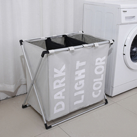 Laundry Basket Clothes Organizer Gathering Dirty Clothes Waterproof Three Grids Classified Basket Bathroom Laundry Hamper