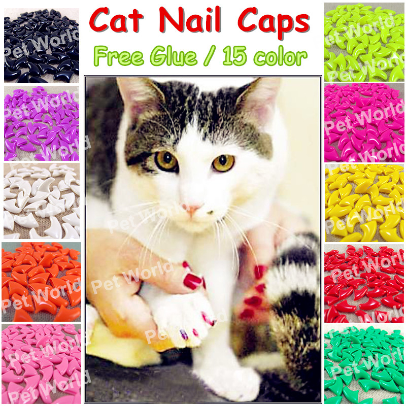 20pcs/lot Cat Nail Caps Soft Cat Paw Cat Claw Xs,s ,m,l With Free Glue