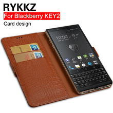 RYKKZ Genuine Leather Flip Cover Card For Blackberry KEY2 KEY Two BBF100-1 Mobile Protective Stand Case KEYone