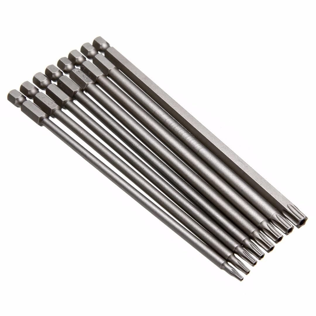 8pcs Magnétique Torx Tournevis Bit Set 150mm Long Acier Électrique Tournevis Outils T8 / T10 / T15 / T20 / T25 / T27 / T30 / T40