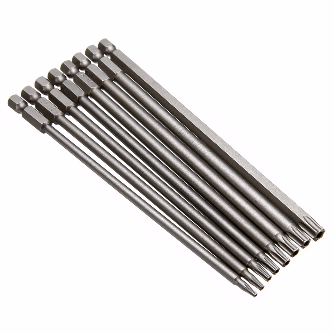 8tk magnetilise Torxi kruvikeeraja bittide komplekt 150mm pikkusega terasest kruvikeerajate tööriistad T8 / T10 / T15 / T20 / T25 / T27 / T30 / T40