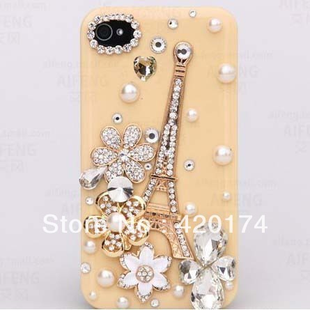 phone Case Cover for iphone 5 5g/pearl beads caystal diamond rhinestone pairs the Eiffel Tower, free shipping