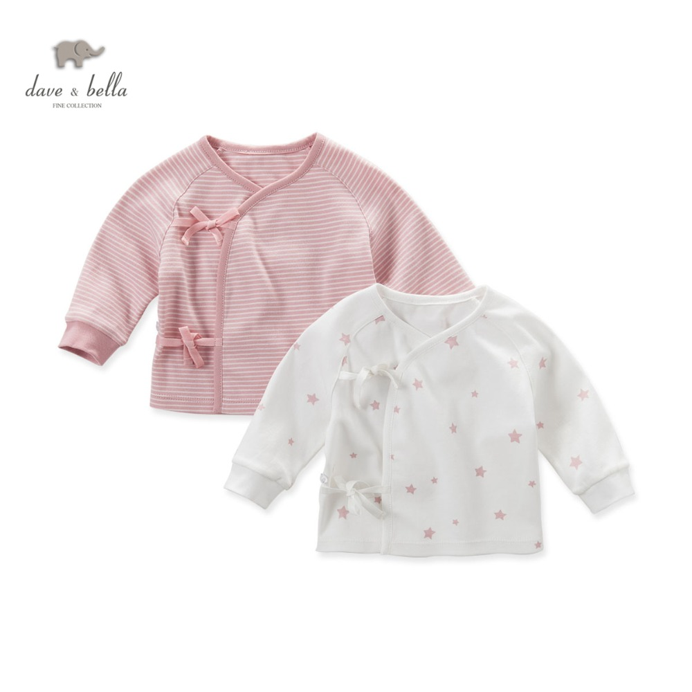 DB4627 dave bella autumn new born baby boys girls sleep top star printed pajamas tops baby pink blue sleep tops ...