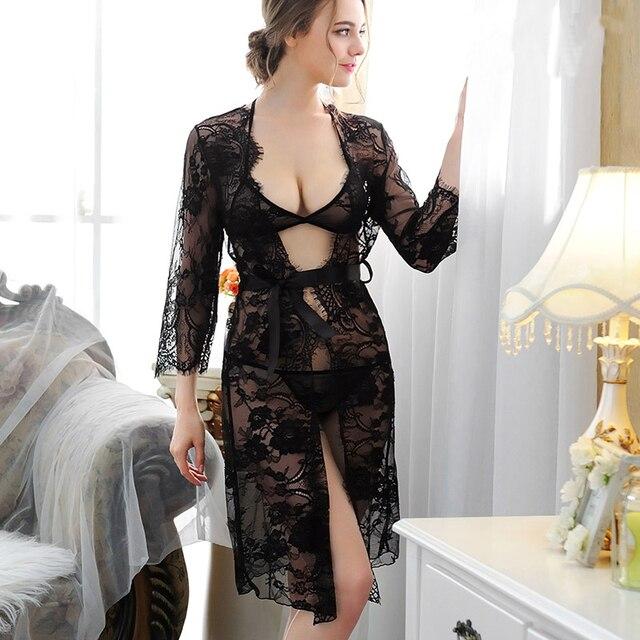 2017 Sexy Lace Robe Set + Bra Panty Pyjamas Women Long Sleeve Sleepwear 3 Piece Robe and Underwear Set Pijama Nightwear Lingerie